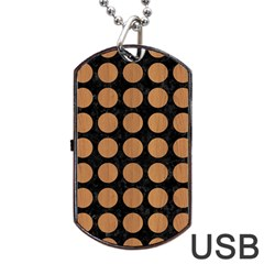 Circles1 Black Marble & Light Maple Wood Dog Tag Usb Flash (two Sides) by trendistuff
