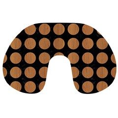 Circles1 Black Marble & Light Maple Wood Travel Neck Pillows by trendistuff
