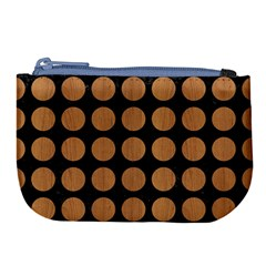 Circles1 Black Marble & Light Maple Wood Large Coin Purse by trendistuff