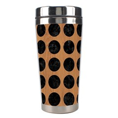 Circles1 Black Marble & Light Maple Wood (r) Stainless Steel Travel Tumblers by trendistuff