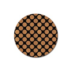 Circles2 Black Marble & Light Maple Wood Magnet 3  (round) by trendistuff