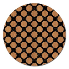 Circles2 Black Marble & Light Maple Wood Magnet 5  (round) by trendistuff