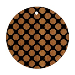 Circles2 Black Marble & Light Maple Wood Round Ornament (two Sides) by trendistuff