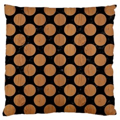 Circles2 Black Marble & Light Maple Wood Large Cushion Case (two Sides) by trendistuff