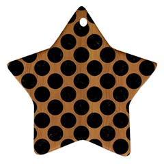 Circles2 Black Marble & Light Maple Wood (r) Star Ornament (two Sides) by trendistuff