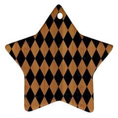 Diamond1 Black Marble & Light Maple Wood Star Ornament (two Sides) by trendistuff
