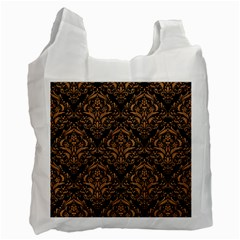 Damask1 Black Marble & Light Maple Wood Recycle Bag (two Side)  by trendistuff