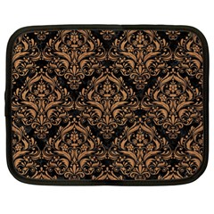 Damask1 Black Marble & Light Maple Wood Netbook Case (xl)  by trendistuff