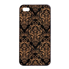 Damask1 Black Marble & Light Maple Wood Apple Iphone 4/4s Seamless Case (black) by trendistuff