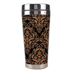 Damask1 Black Marble & Light Maple Wood Stainless Steel Travel Tumblers by trendistuff
