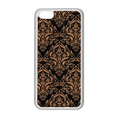 Damask1 Black Marble & Light Maple Wood Apple Iphone 5c Seamless Case (white) by trendistuff