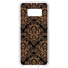 Damask1 Black Marble & Light Maple Wood Samsung Galaxy S8 White Seamless Case by trendistuff