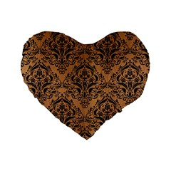 Damask1 Black Marble & Light Maple Wood (r) Standard 16  Premium Heart Shape Cushions by trendistuff