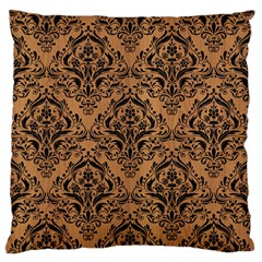 Damask1 Black Marble & Light Maple Wood (r) Large Flano Cushion Case (two Sides) by trendistuff
