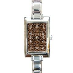 Damask2 Black Marble & Light Maple Wood Rectangle Italian Charm Watch by trendistuff