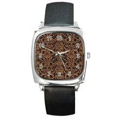 Damask2 Black Marble & Light Maple Wood Square Metal Watch by trendistuff