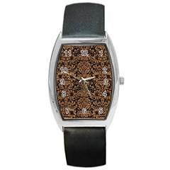 Damask2 Black Marble & Light Maple Wood Barrel Style Metal Watch by trendistuff