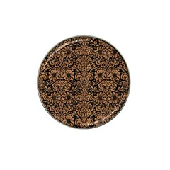 Damask2 Black Marble & Light Maple Wood Hat Clip Ball Marker by trendistuff