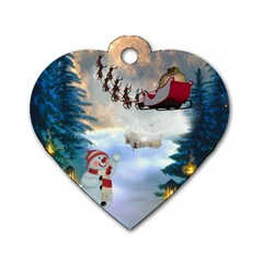 Christmas, Snowman With Santa Claus And Reindeer Dog Tag Heart (two Sides) by FantasyWorld7