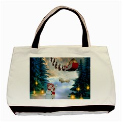 Christmas, Snowman With Santa Claus And Reindeer Basic Tote Bag (two Sides) by FantasyWorld7