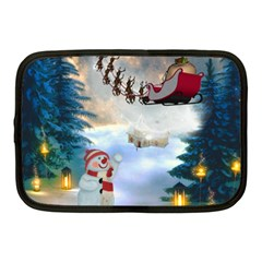 Christmas, Snowman With Santa Claus And Reindeer Netbook Case (medium)  by FantasyWorld7