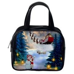 Christmas, Snowman With Santa Claus And Reindeer Classic Handbags (one Side) by FantasyWorld7