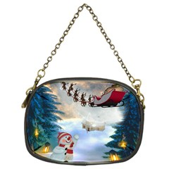 Christmas, Snowman With Santa Claus And Reindeer Chain Purses (two Sides)  by FantasyWorld7