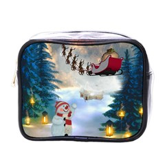 Christmas, Snowman With Santa Claus And Reindeer Mini Toiletries Bags by FantasyWorld7