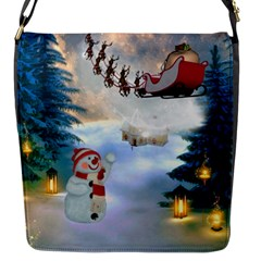 Christmas, Snowman With Santa Claus And Reindeer Flap Messenger Bag (s) by FantasyWorld7