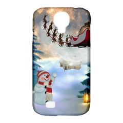 Christmas, Snowman With Santa Claus And Reindeer Samsung Galaxy S4 Classic Hardshell Case (pc+silicone) by FantasyWorld7