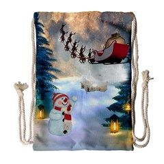 Christmas, Snowman With Santa Claus And Reindeer Drawstring Bag (large) by FantasyWorld7