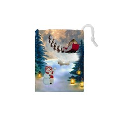 Christmas, Snowman With Santa Claus And Reindeer Drawstring Pouches (xs)  by FantasyWorld7