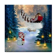 Christmas, Snowman With Santa Claus And Reindeer Tile Coasters