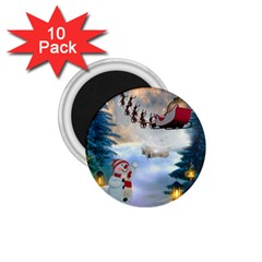 Christmas, Snowman With Santa Claus And Reindeer 1 75  Magnets (10 Pack)  by FantasyWorld7