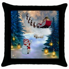 Christmas, Snowman With Santa Claus And Reindeer Throw Pillow Case (black) by FantasyWorld7