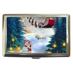 Christmas, Snowman With Santa Claus And Reindeer Cigarette Money Cases by FantasyWorld7