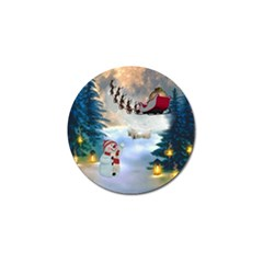 Christmas, Snowman With Santa Claus And Reindeer Golf Ball Marker (10 Pack)