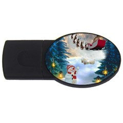 Christmas, Snowman With Santa Claus And Reindeer Usb Flash Drive Oval (4 Gb) by FantasyWorld7