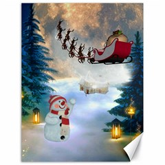 Christmas, Snowman With Santa Claus And Reindeer Canvas 18  X 24   by FantasyWorld7