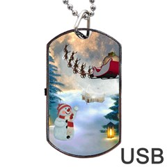 Christmas, Snowman With Santa Claus And Reindeer Dog Tag Usb Flash (two Sides) by FantasyWorld7