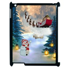 Christmas, Snowman With Santa Claus And Reindeer Apple Ipad 2 Case (black) by FantasyWorld7