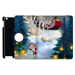 Christmas, Snowman With Santa Claus And Reindeer Apple Ipad 3/4 Flip 360 Case by FantasyWorld7