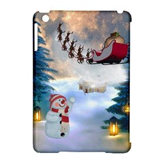 Christmas, Snowman With Santa Claus And Reindeer Apple Ipad Mini Hardshell Case (compatible With Smart Cover) by FantasyWorld7
