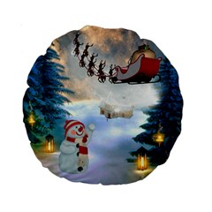 Christmas, Snowman With Santa Claus And Reindeer Standard 15  Premium Round Cushions by FantasyWorld7