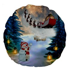 Christmas, Snowman With Santa Claus And Reindeer Large 18  Premium Round Cushions by FantasyWorld7