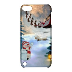 Christmas, Snowman With Santa Claus And Reindeer Apple Ipod Touch 5 Hardshell Case With Stand by FantasyWorld7