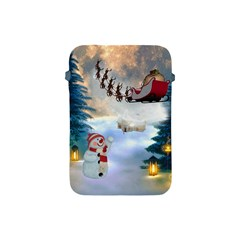 Christmas, Snowman With Santa Claus And Reindeer Apple Ipad Mini Protective Soft Cases by FantasyWorld7