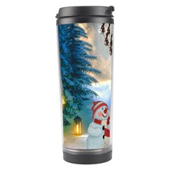Christmas, Snowman With Santa Claus And Reindeer Travel Tumbler by FantasyWorld7