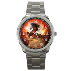 Awesome Creepy Running Horse With Skulls Sport Metal Watch by FantasyWorld7