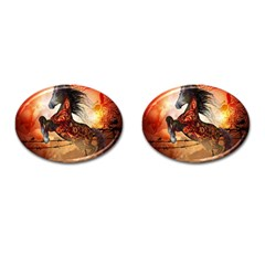 Awesome Creepy Running Horse With Skulls Cufflinks (oval) by FantasyWorld7